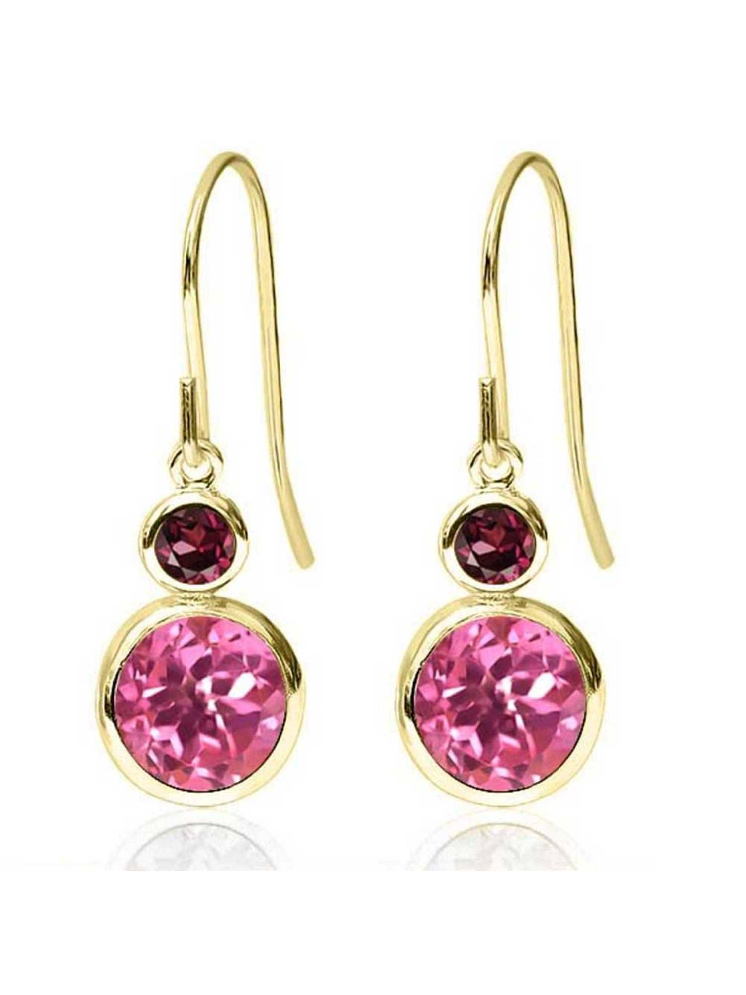 2.24 Ct Round Pink Mystic Topaz Red Rhodolite Garnet 14K Yellow Gold Earrings by