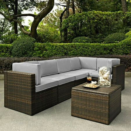 Fine Crosley Furniture Ko70007Br Gy Palm Harbor 6 Piece Resin Wicker Outdoor Sectional Seating Set Brown Grey Lamtechconsult Wood Chair Design Ideas Lamtechconsultcom