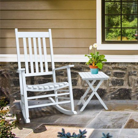 Enjoyable Orno Ttobe White Solid Hardwood Outdoor Rocking Chair Country Plantation Porch Rocker Provide Comfortable Seating On Patio Or Deck With Table Inzonedesignstudio Interior Chair Design Inzonedesignstudiocom