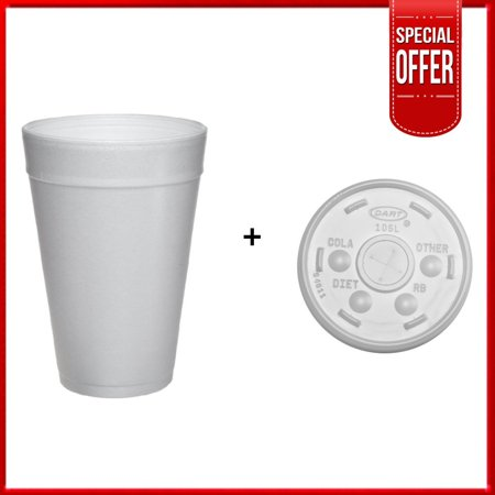 Dart 32TJ32, 32 Oz. Customizable White Foam Plastic Cold And Hot Beverage Cup with Translucent Straw Slotted Lid, Disposable Take Out Drink Cups with Matching Covers (50)