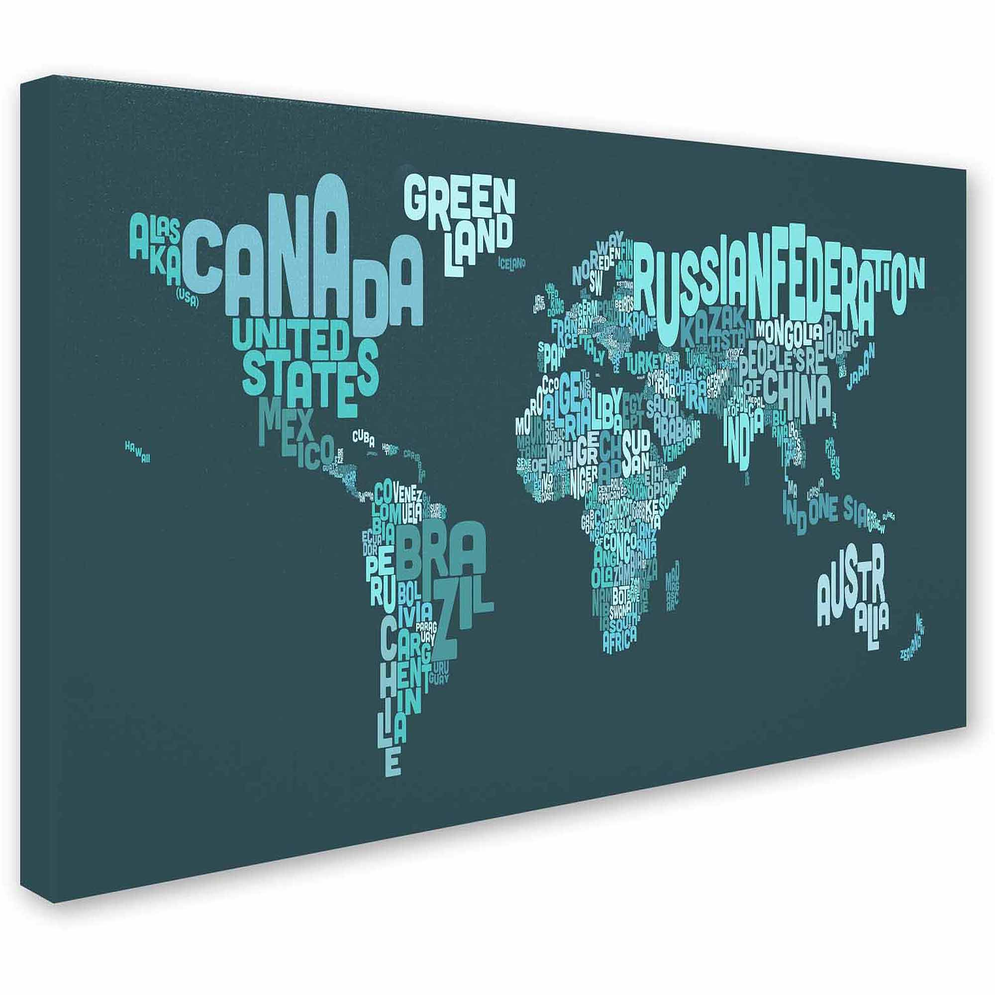 "Trademark Fine Art ""Text Map of the World II"" Canvas Art by Michael Tompsett"