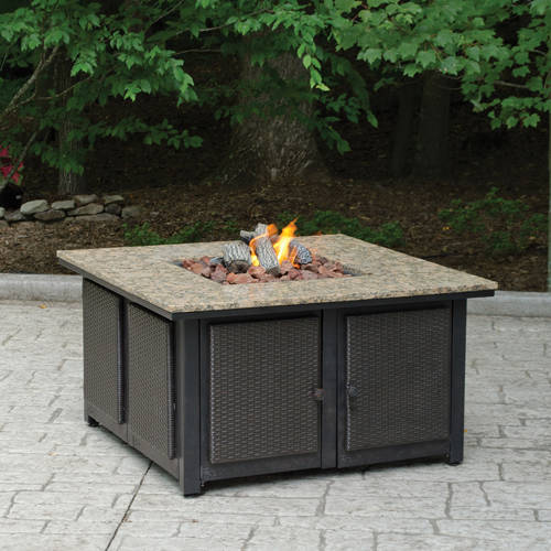 LP Granite Firepit with Decorative Wicker Base