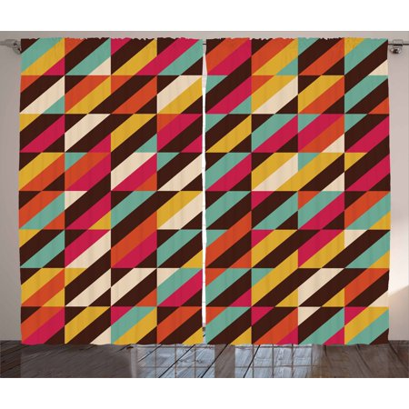 Abstract Curtains 2 Panels Set, Funky Geometric Square Boxes with Parallel Color Bars Triangles Stripes Retro, Window Drapes for Living Room Bedroom, 108W X 84L Inches, Multicolor, by Ambesonne ()