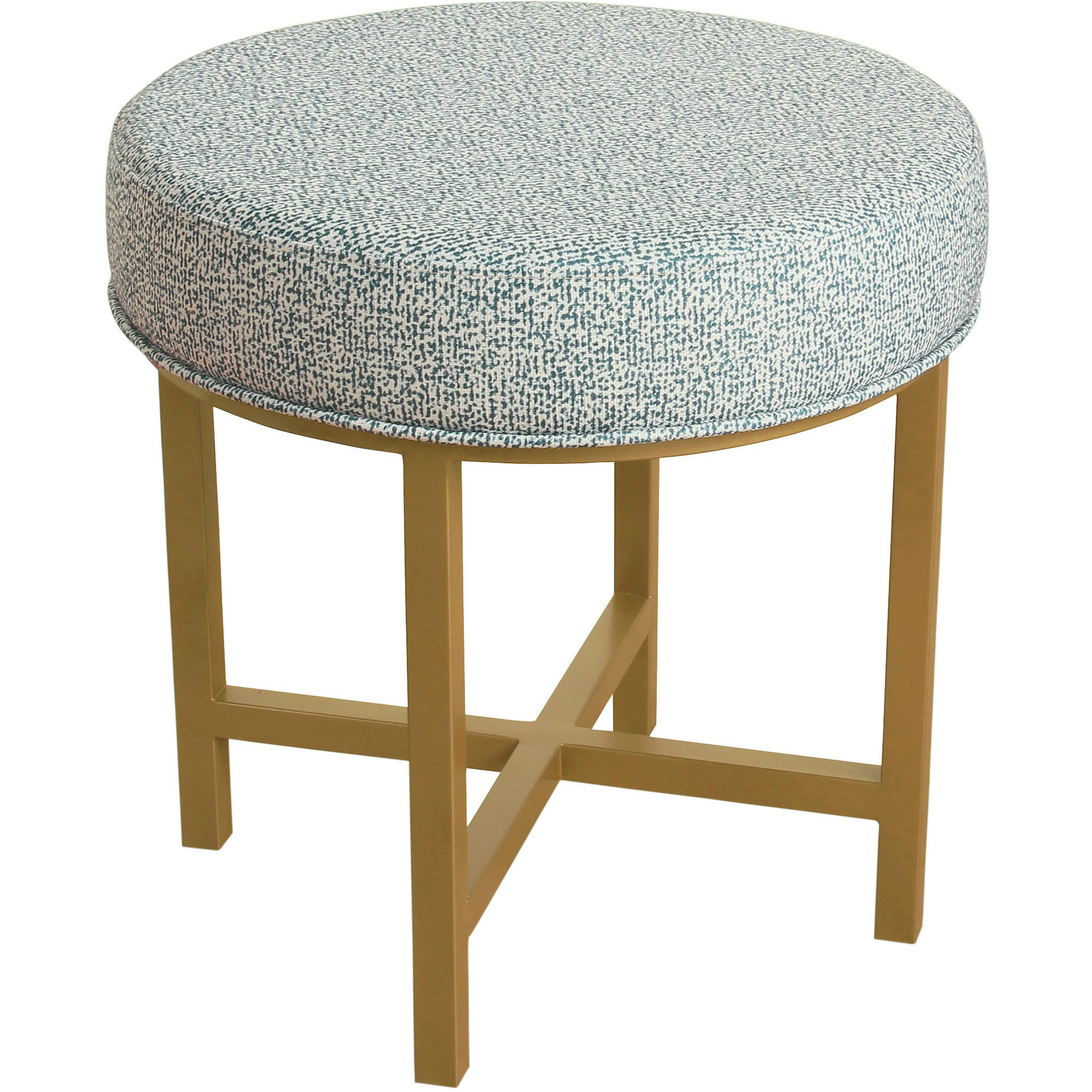 HomePop Decorative Round Ottoman with Metal Base, Multiple Colors