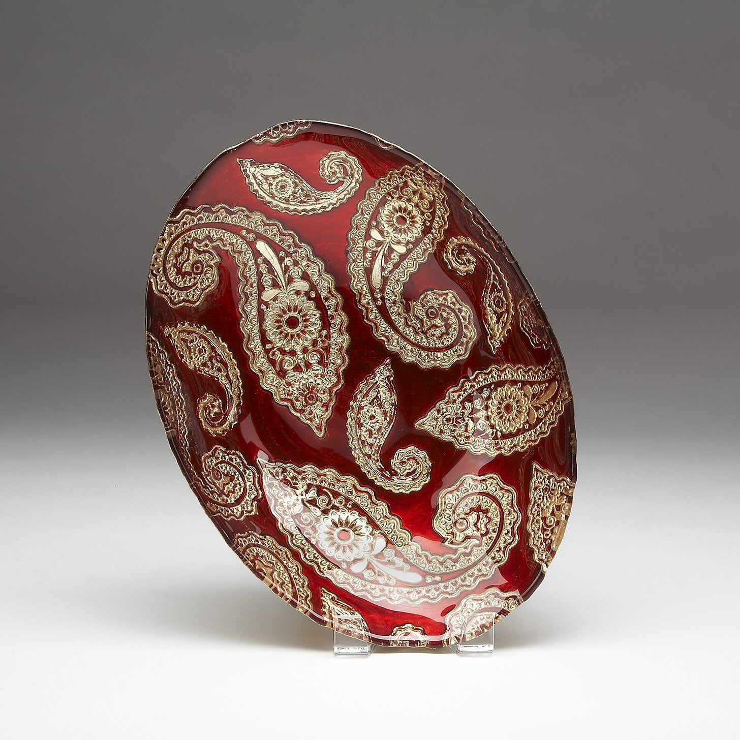 Red Pomegranate Gilded Tableware Paisley Red Gold Oval Bowl