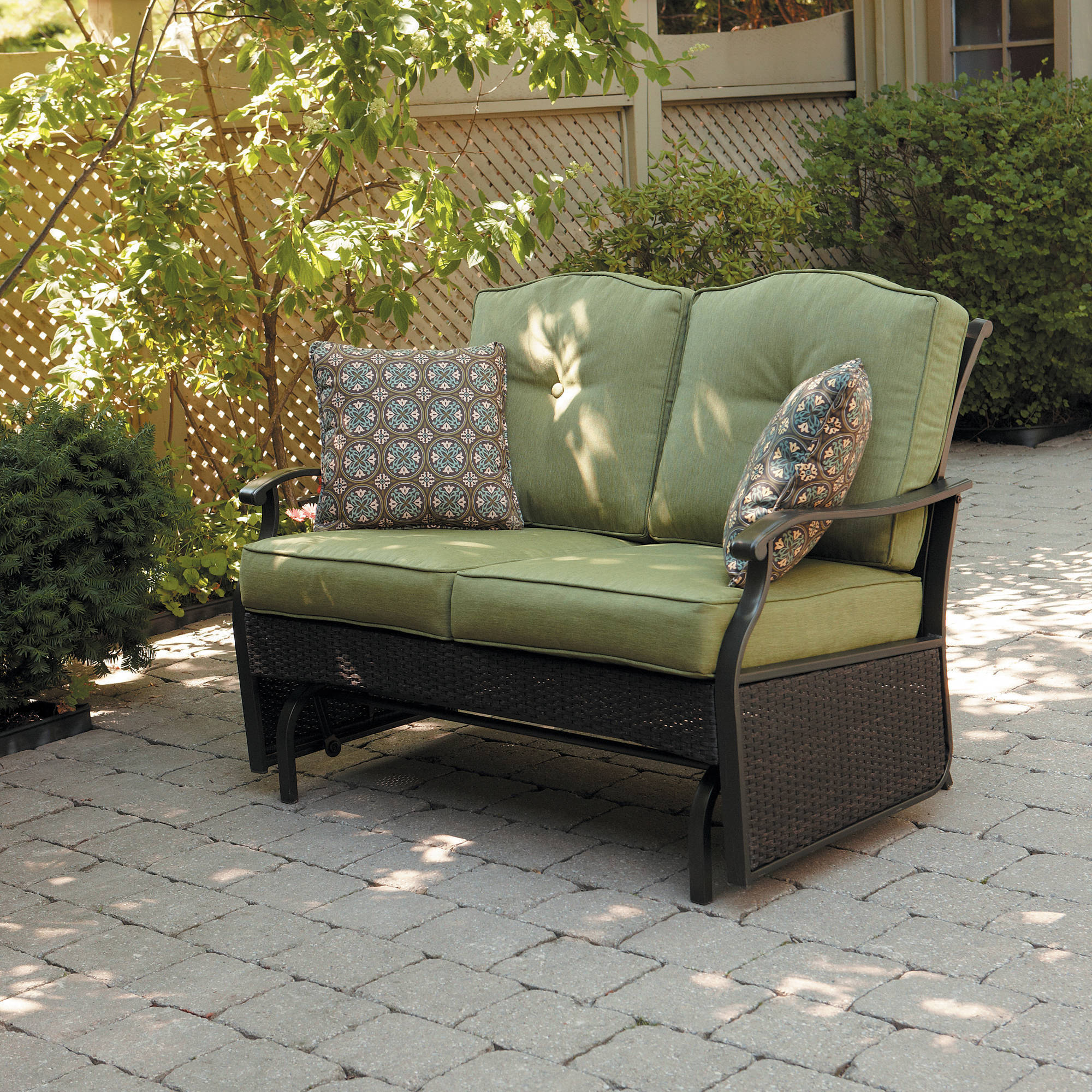 Better Homes U0026 Gardens Providence 2 Person Outdoor Glider Loveseat    Walmart.com