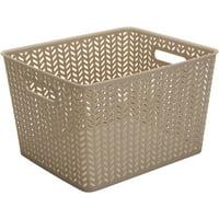 Simplify Large Resin Storage Bin Tote Herringbone (13.75x11.5x8.75)