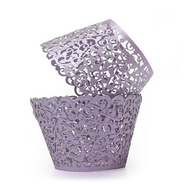Laser Cut Cupcake Wrappers Decor Wedding Birthday Party Baby Shower Wrap (Purple), 50pcs Pack