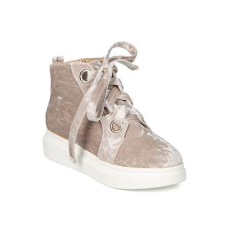 New Women Lace Up Platform High Top Sneaker - 18021 By Cape Robbin Collection (Velvet Platform Shoes)