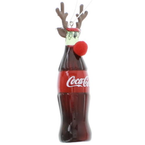 Image of Blow Mold Bottle Antlers Coca-Cola Christmas Ornament