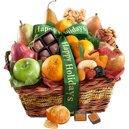 Golden State Fruit Happy Holidays Orchard Delight Gift Basket, 14 pc