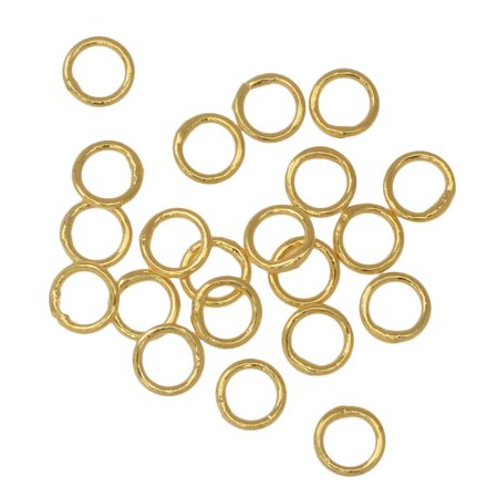 Jump Rings, Closed 4mm Diameter 22 Gauge, 20 Pieces, Gold Plated
