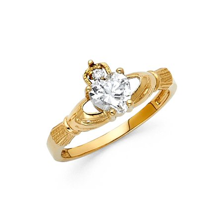14K Solid Yellow Gold Heart Cut Cubic Zirconia Claddagh Ring, Size 5