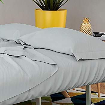 Futon & Twin Sleeper Sofa Sheet Set - Brushed microfiber 90 GSM - Wrinkle free, smooth & comfy - 4 Piece (Grey)