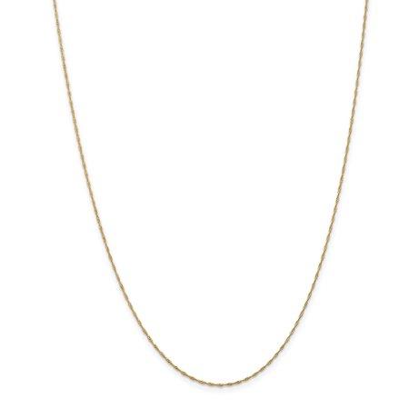 14k Yellow Gold 1mm Curb (14k Yellow Gold 1mm Singapore Chain Necklace - Spring Ring - Length: 14 to 30)