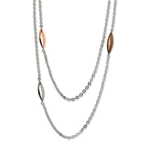 Jewelryweb Stainless Steel Rose Gold Brown and Steel Ovals Necklace - 28 Inch