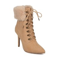 4314612ddb23 Product Image New Women Qupid Scorpio-05 Faux Suede Corset Lace Up Faux Fur  Trim Stiletto Boot