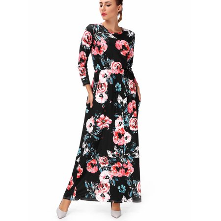 Plus Size  Maternity  Dresses Long  Sleeve  Empire High Waist Maxi Dress  Floral  Print  Casual Black/White S-3XL Empire Waist Bow
