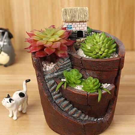 10x12cm Sky Garden Small House Succulent Green Plant Planter Herb Flower Basket Bonsai Pot Home Decor ()
