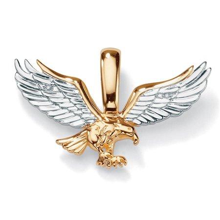 10k Eagle - Men's Diamond Accent Two-Tone 10k Gold  Golden Eagle Pendant