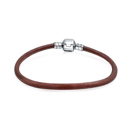 Brown Leather Cord Bracelet - Brown Leather Cord Barrel Clasp Bracelet Bead Charms 925 Silver