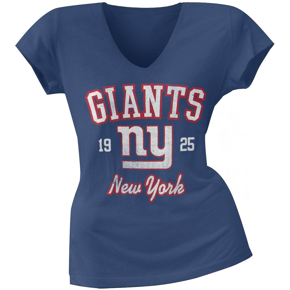 New York Giants - Flanker Logo Premium Juniors V-Neck T-Shirt