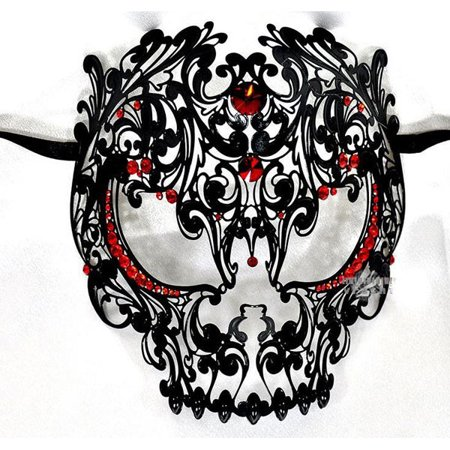 Men Devil Skull Laser Cut Metal Masquerade Mask Full Face Black with Red Crystals - Black And Red Masquerade Mask