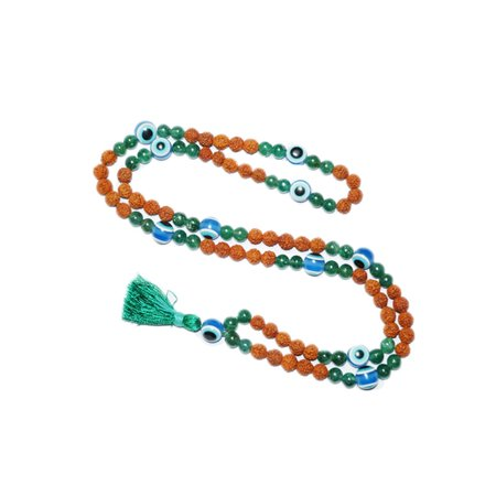 (Mogul Buddhist Tibetan Beads Green Jade Prosperity Rudraksha Evil Eye Japa Mala Necklace)
