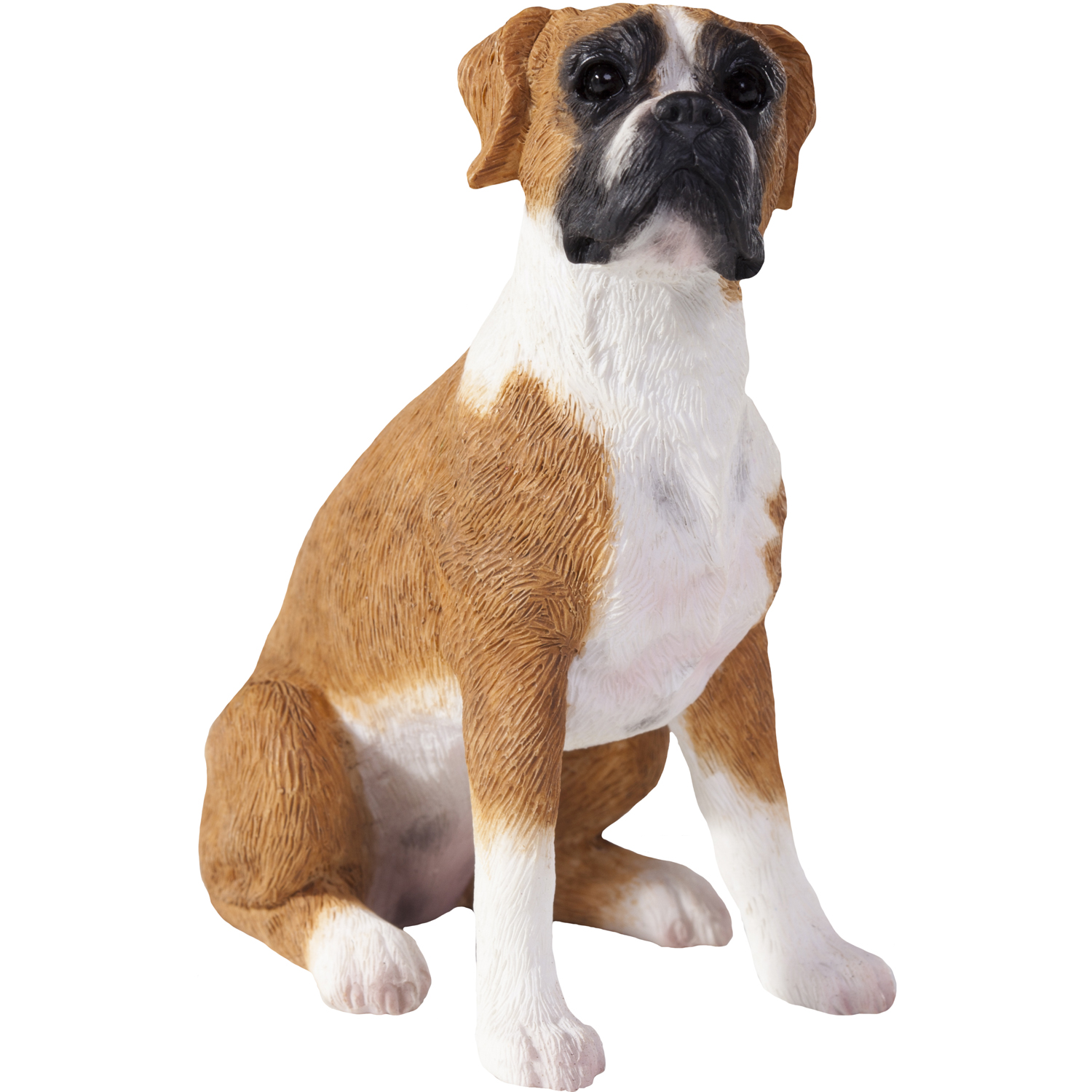 "Sandicast ""Small Size"" Sitting Fawn UC Boxer Dog Sculpture"