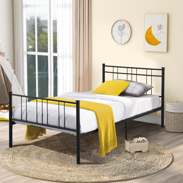Seventh Metal Single Bed Frame, Queen Metal Bed Frame With Headboard No Footboard