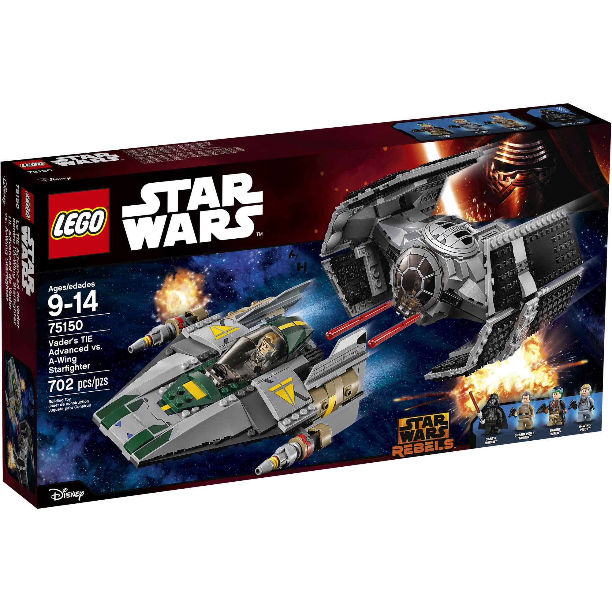 Lego Star Wars Vader's TIE Advanced vs. A-Wing Starfighter 75150 by LEGO Systems, Inc.