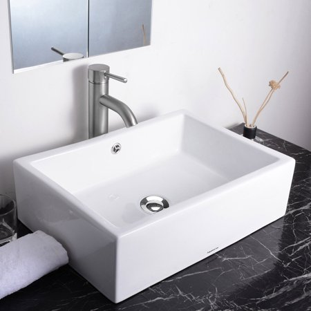 Aquaterior Rectangle Bathroom Vessel Sink Porcelain Ceramic Bowl Basin w/ Chrome Drain White 19