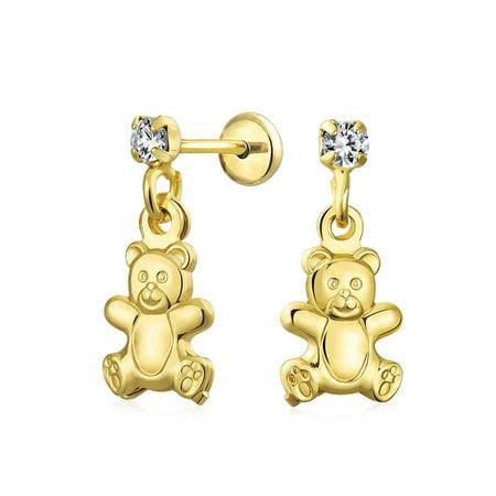 Teddy Bear Enamel Earrings - Teddy Bear Stuffed Animal Lover Cubic Zirconia Dangle Earrings For Teen CZ Stud 18K Gold Plated Brass