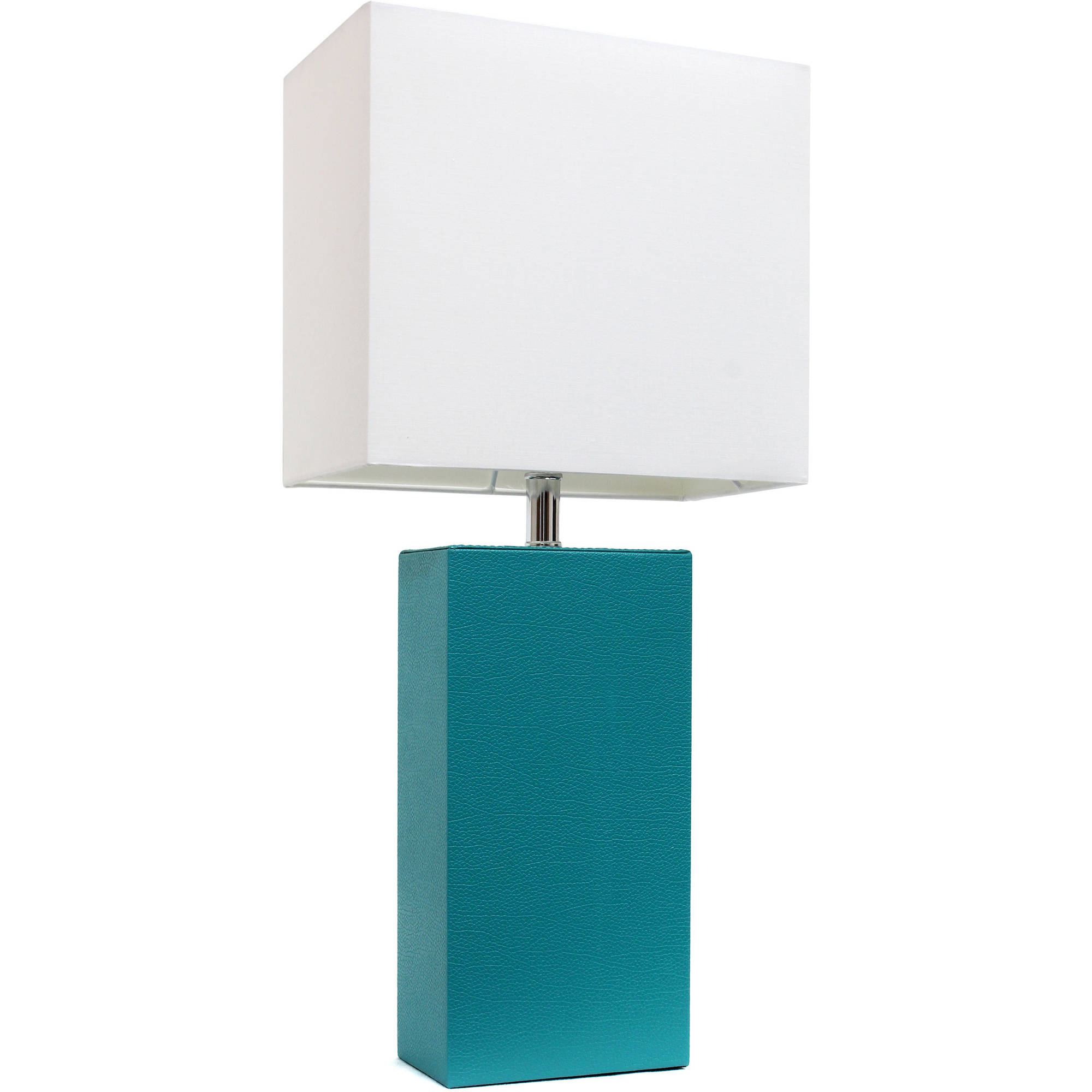 Elegant Designs Modern Leather Table Lamp with White Fabric Shade, Teal by All the Rages Inc