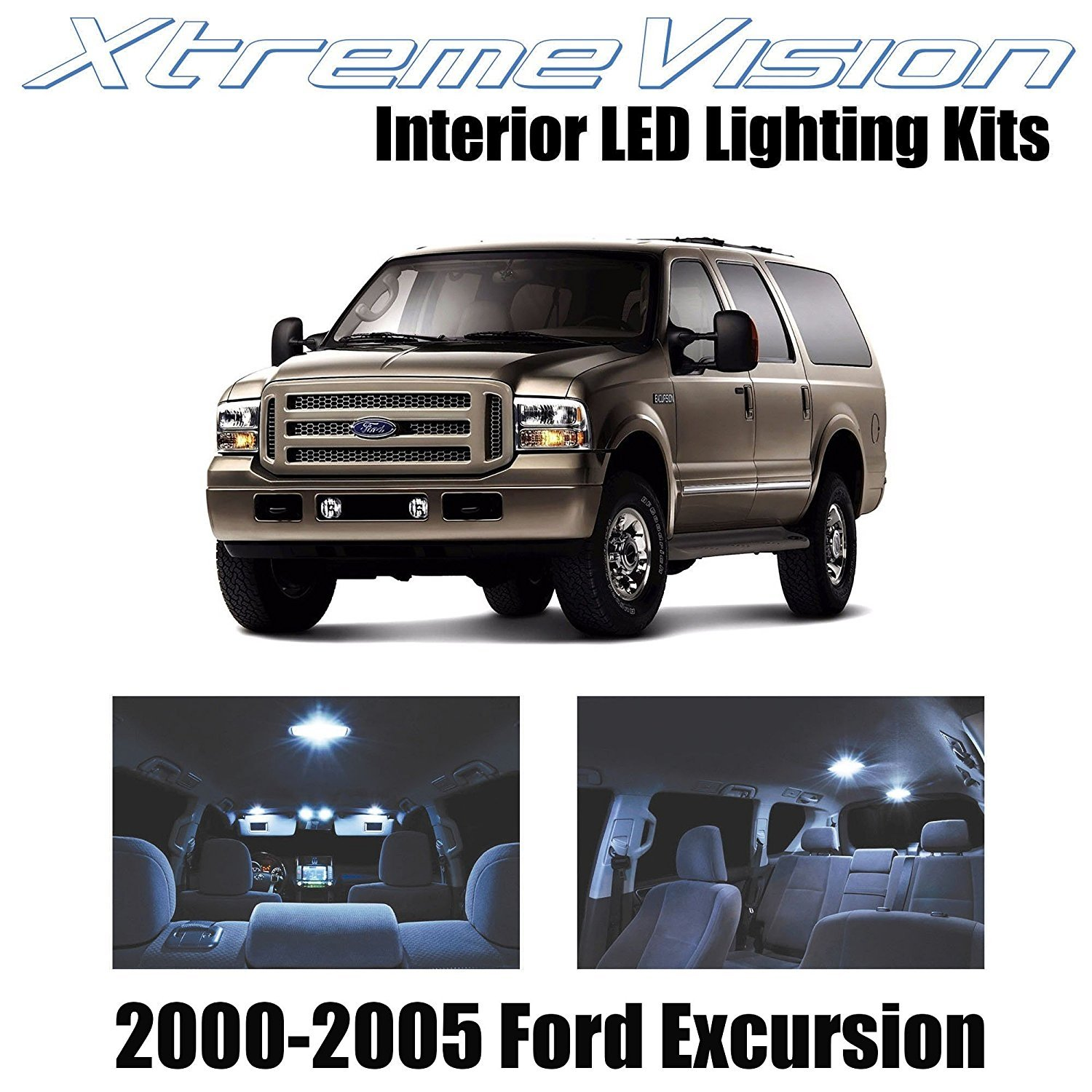 XtremeVision LED for Ford Excursion 2000-2005 (12 Pieces) Cool White Premium Interior LED Kit Package + Installation Tool