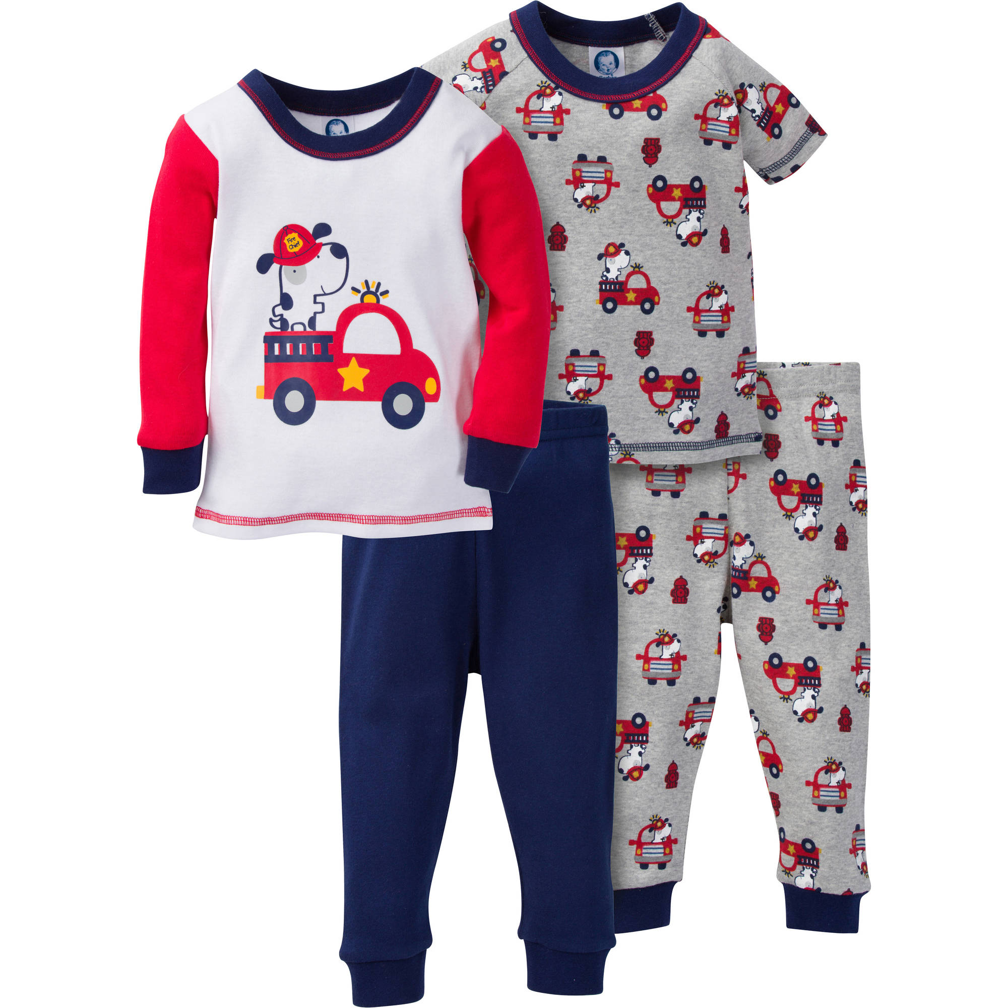 Gerber Baby Toddler Boy Mix N' Match Snug Fit Cotton Pajamas, 4pc Set