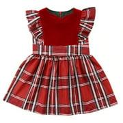 Sweet Baby Girl Plaid Checkered Sleeveless Christmas Dress (100/2-3 Years)