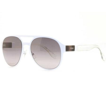 Fendi FF 0082/S E2OEU Clear Matte White Men's Aviator Sunglasses