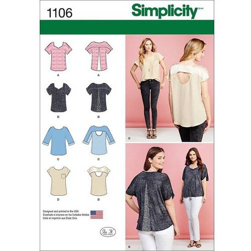 Simplicity Misses' Tops with Fabric Variations, XXS-XS-S-M-L-XL-XXL