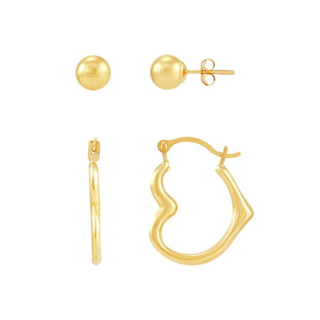 Brilliance Fine Jewelry 10K Yellow Gold Polished 6mm Ball Stud and Heart Shape Hoop Earrings Set