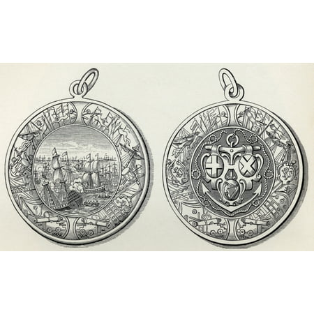 Medal Commemorating Admiral Robert Blakes Victories Over The Dutch In 1653 From The Book Short History Of The English People By JR Green Published London 1893 Stretched Canvas - Ken Welsh  Design Pic