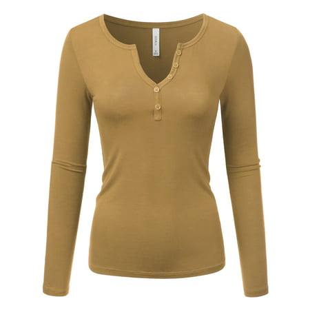 a0957ae1fbb Doublju Women s Long Sleeve Solid Sexy V Neck Knit Ribbed Henley Shirt  Blouse Tops MOCHA 1X Plus Size