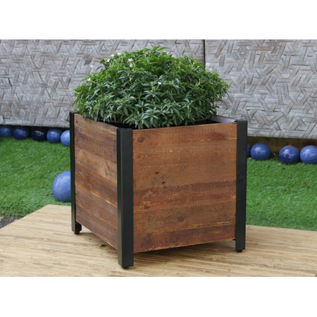 Square Recycled Wood Planter