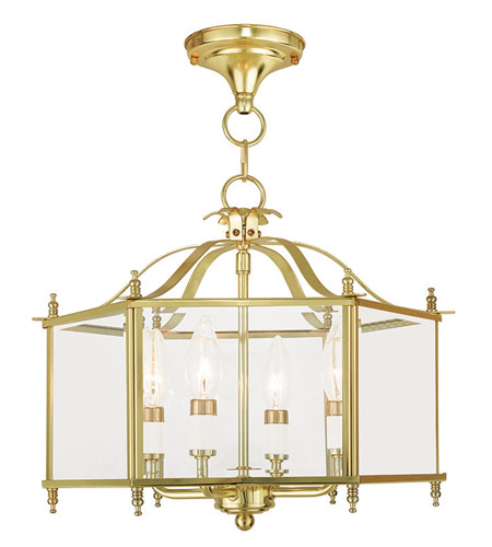 Chandeliers 4 Light With Clear Beveled Glass Polished Bra...