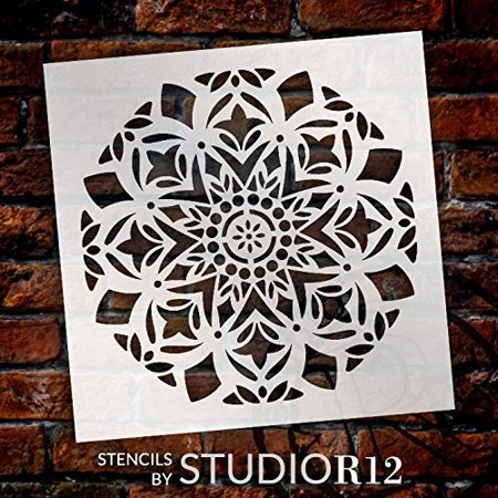 "Mandala - Snow - Complete Stencil by StudioR12 | Reusable Mylar Template | Use to Paint Wood Signs - Pallets - Pillows - Wall Art - Floor Tile - Select Size (12"" x 12"")"