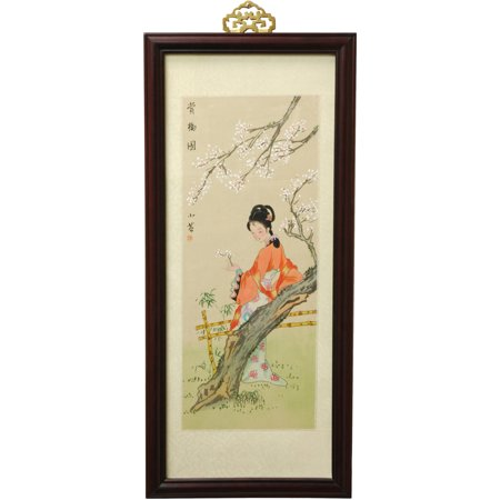 Oriental Furniture Blossoms and Beauty hand painted Silk Artwork, wall art, wall hanging, Oriental, traditional Painted Original Artwork