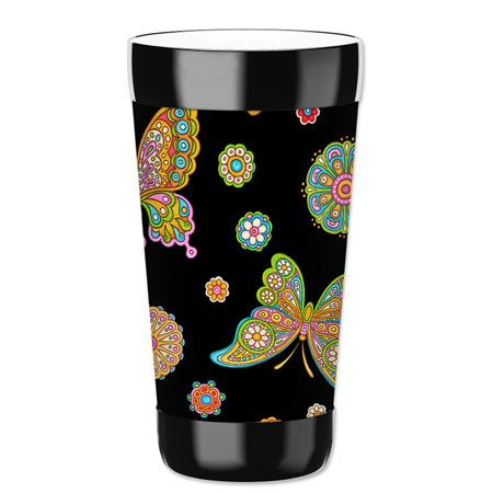 Mugzie 16-Ounce Tumbler Drink Cup with Removable Insulated Wetsuit Cover - Paisley Butterflies (black)