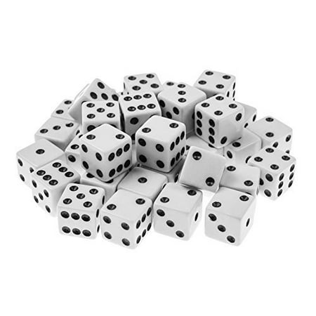 Standard 16mm White Dice with Black Pips Dots for Board Games, Party Favors, Toy Gifts (100 Pack) by Super Z Outlet