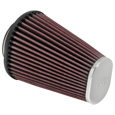 K&N RC-3680 Universal Clamp-On Air Filter: Oval Straight; 2.438 in (62 mm) Flange ID; 6 in (152 mm) Height; 4.5 in x 3.75 in (114 mm x 95 mm) Base; 3 in x 2 in (76 mm x 51 mm) Top