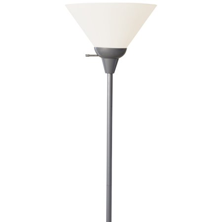 Light Accents 100 Watt Floor Lamp Silver Finish with White Plastic Shade  - Accents Finish Floor Lamps